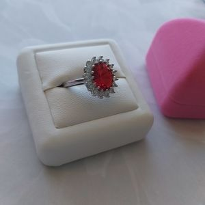 Red CZ Crystal Silver Ring